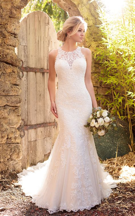 Wedding Dresses Australia by Satin Wedding Dress With Halter Neckline Essense Of