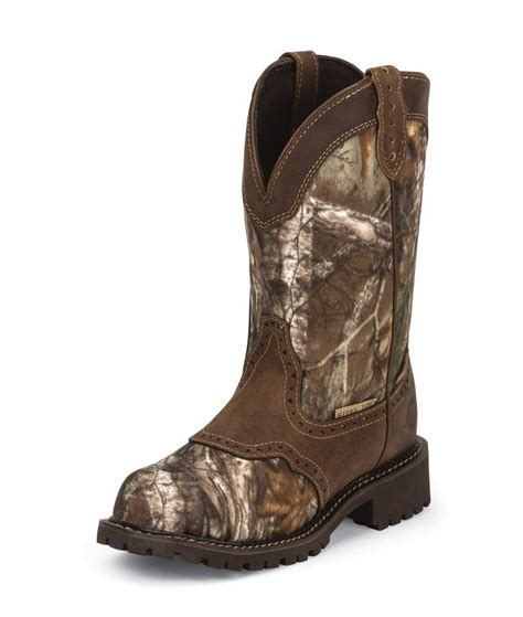 realtree boots justin work wkl9001 realtree camo womens 11 quot steel