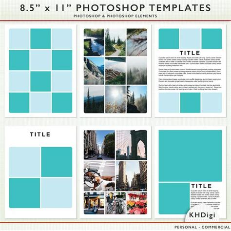 8 5 X 11 Psd Photographer Scrapbook Templates Photoshop And Photoshop Elements For 8 5 X 11 Photoshop Template