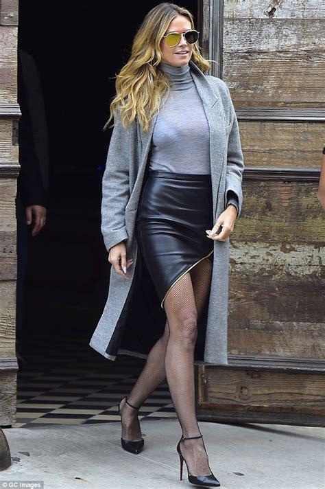 alex jones mini skirt school heidi klum wows in fishnets and leather mini skirt in new