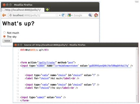 django tutorial csrf 自動產生的隱藏欄位與安全代碼