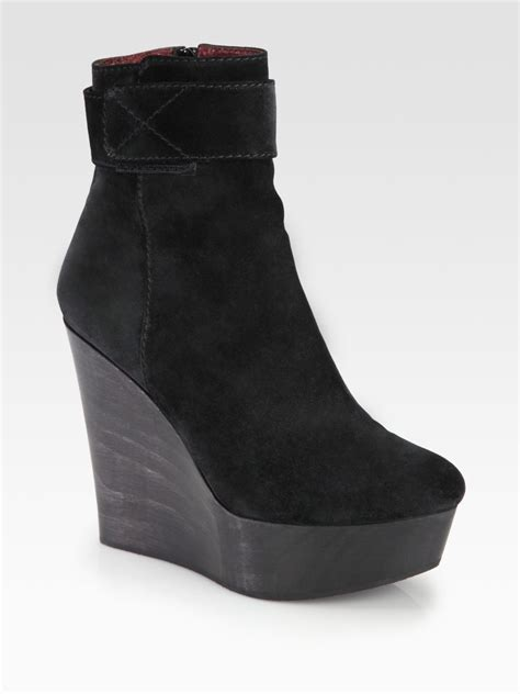 opening ceremony sparkle suede wedge ankle boots in black