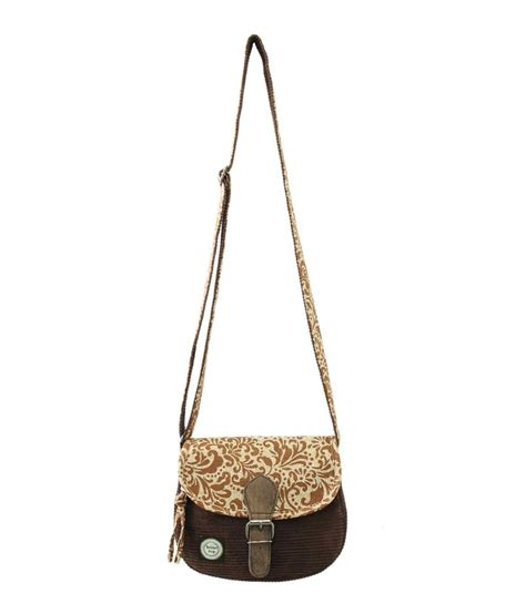 44 on anekaant whimsical brown corduroy canvas sling