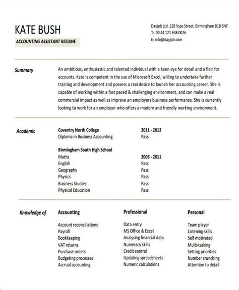 resume format for accountant assistant pdf 26 accountant resume format