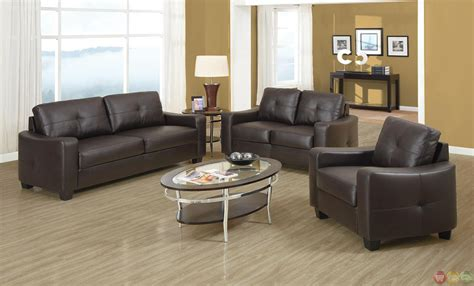 contemporary brown leather 2 sofa set
