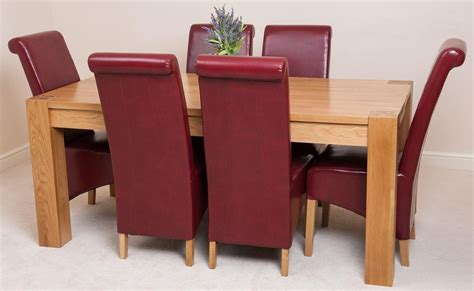 Burgundy Leather Dining Chairs Kuba Solid Oak 180cm Dining Table With 6 Montana Dining Chairs Burgundy Leather Dining Room