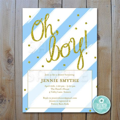 Blue And Gold Baby Shower by Glitter Baby Shower Invitation Blue And Gold Glitter