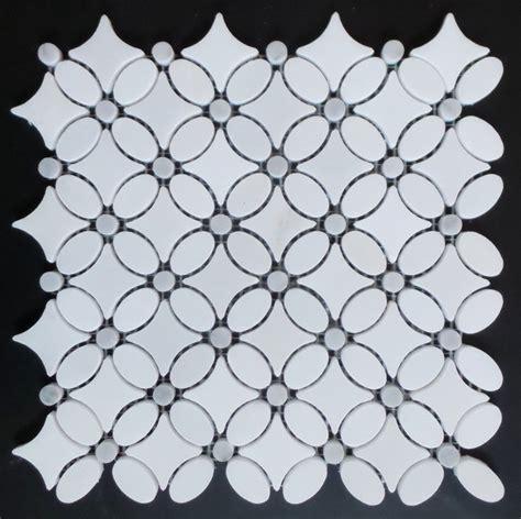 Flower Pattern Mosaic Tile | carrara marble flower pattern mosaic tile white carton