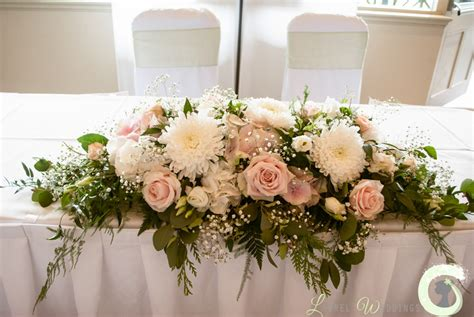 Wedding Flowers Table Arrangement by Blush Pink And Wedding Flowers At The Mere Resort