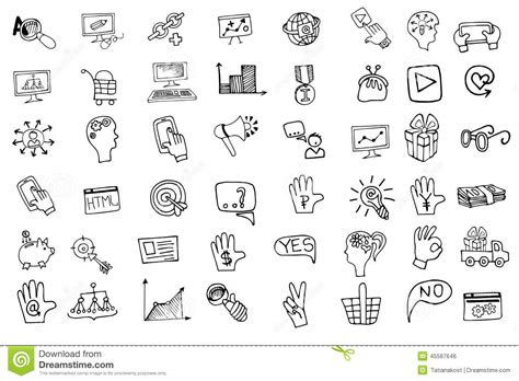 doodle icon free doodle business seo icons set outline sketchy stock vector