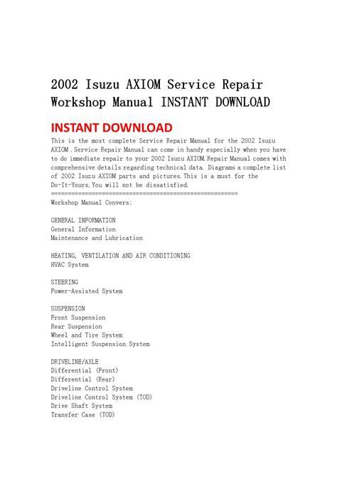 car engine manuals 2003 isuzu axiom parking system 2002 isuzu axiom service repair workshop manual instant download by msjenfh mkfjnsef issuu