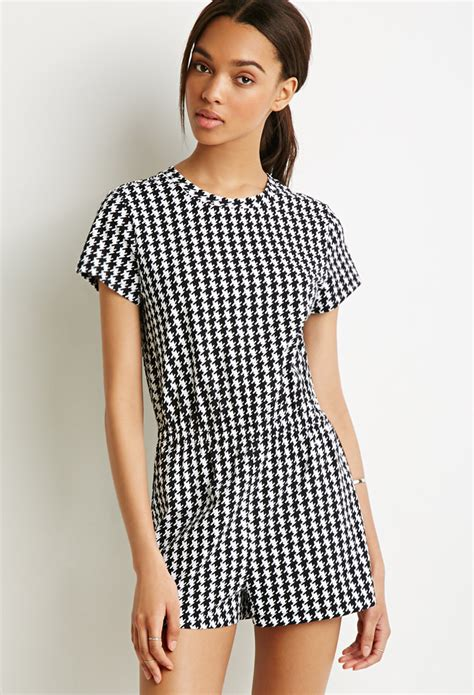 White Shirt Layer Houndstooth forever 21 houndstooth print t shirt romper in black lyst