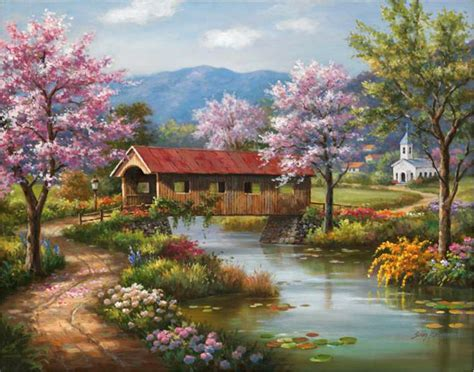 spring paint sung kim covered bridge in spring painting anysize 50 off covered bridge in spring painting
