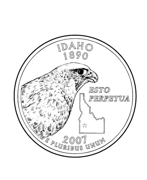 Coloring Page Quarter by Idaho State Quarter Coloring Page Usa State Quarters