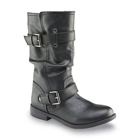 womens black moto boots bongo s kylee black slouch moto boot shoes