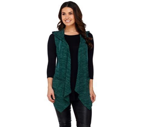 logo by lori goldstein vest logo by lori goldstein sweater knit hooded vest with pockets a269975 qvc