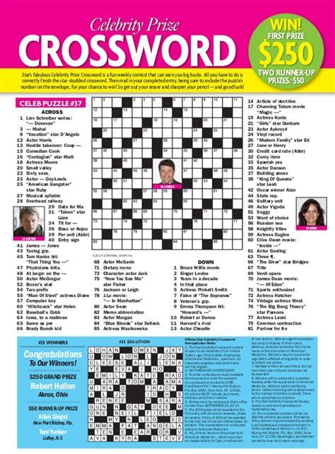 free printable star magazine crossword puzzles star magazine 15 september 2014