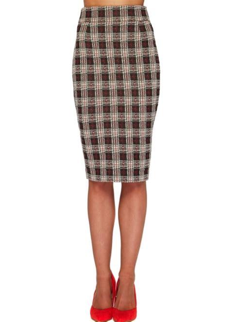 vesper aydon pencil skirt check pencil skirt