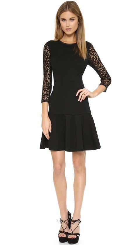 Hm Longdress Adeline Fit L sleeve ponte dress in black lyst