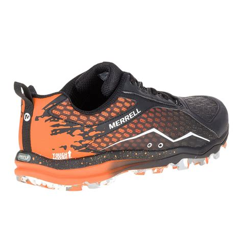sturdy running shoes merrell all out crush tough mens orange black waterproof