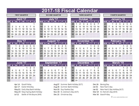 printable monthly calendar 2017 18 uk fiscal calendar template 2017 18 free printable templates