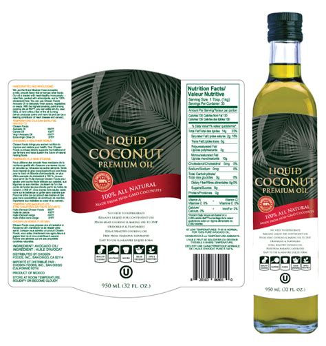 Liquid Coconut Oil Label Template