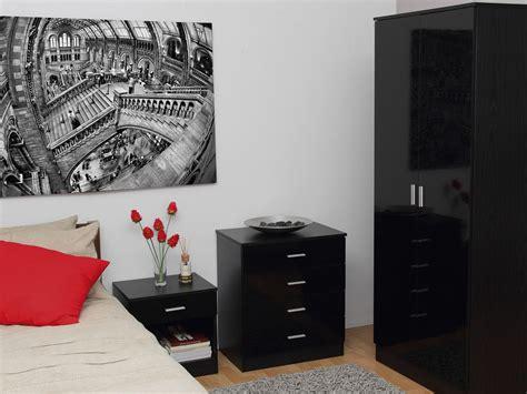 bedroom furniture 3 set black gloss wardrobe drawer