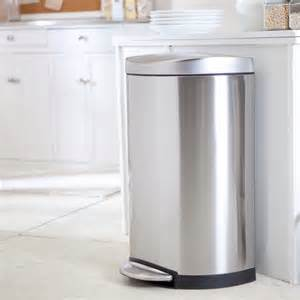 stainless steel kitchen trash can simplehuman 174 semi step trash can brushed stainless