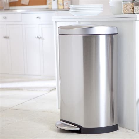 Trash Cans Kitchen by Simplehuman 174 Semi Step Trash Can Brushed Stainless