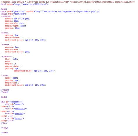 html layout design code converting a table based layout