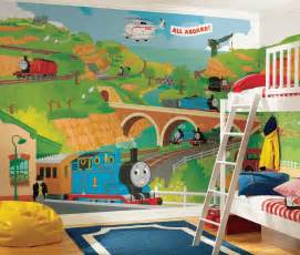 train murals for walls thomas the train size wallpaper mural 9 x 15 stickers