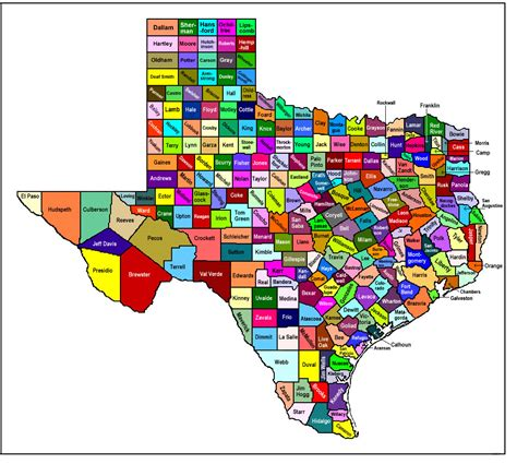 texas county map texas map free large images