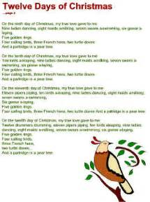 Twelve days of christmas lyrics search results calendar 2015