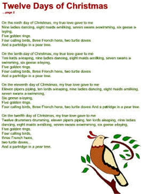 printable lyrics to 12 days of christmas 12 days of christmas lyrics search results calendar 2015