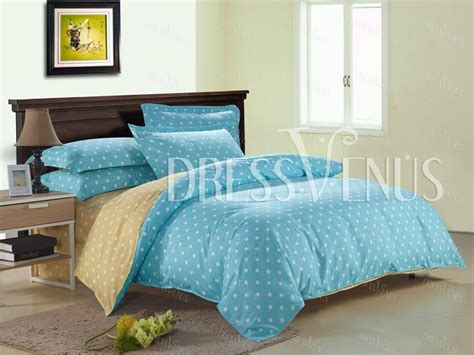 Light Blue And Yellow Bedroom Us 103 99 Light Blue And Yellow Color Dot Print Cotton 4 Bedding Set Bedding