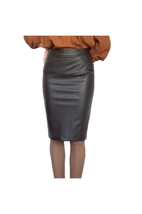 new casual knee length pencil streight brown faux leather