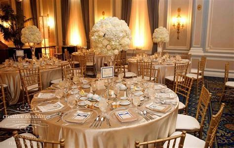 Champagne gold and ivory wedding décor at the Fairmont