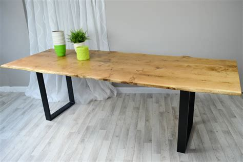 vivente oak slab dining table with steel legs by frances