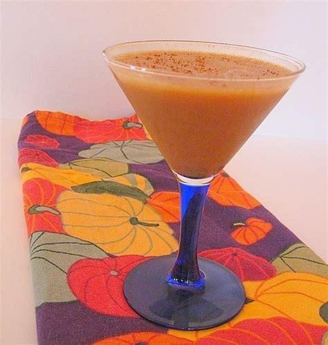 drunk pumpkin pie autumn dessert served in a martini glass