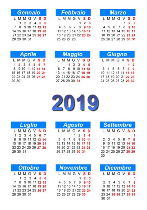 Calendario 2019 Italiano Calendario 2019 Stare E Scaricare In Pdf Abc
