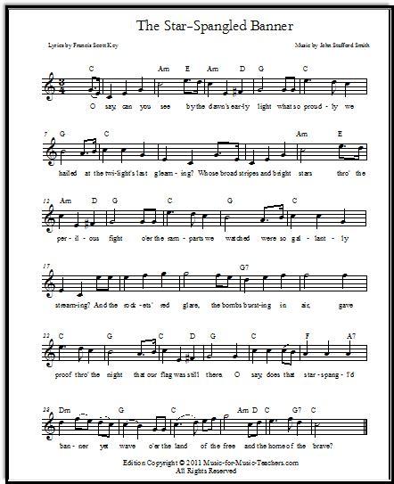 printable star spangled banner sheet music star spangled banner free sheet music lyrics for all