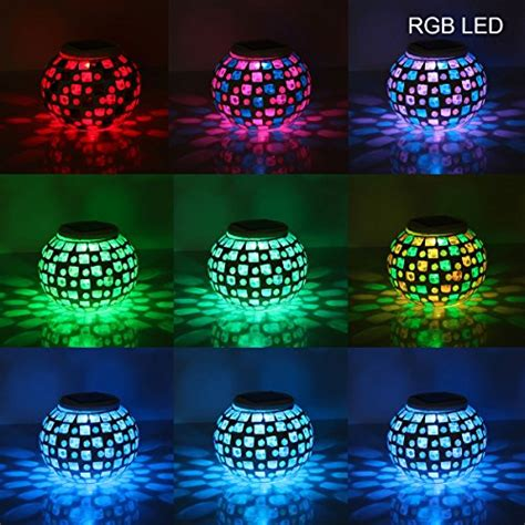 hallomall solar powered mosaic glass ball garden lights