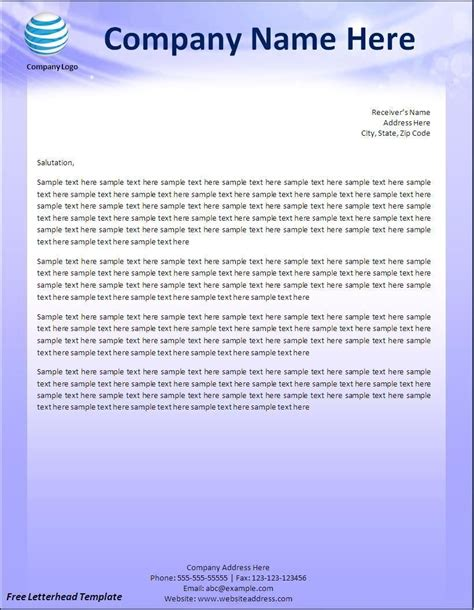 personal letterhead template for word