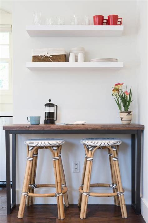 Floating Bar Table Modern Kitchenette Ideas Features Wood And Iron Bar Table With Bistro Stools By Braun