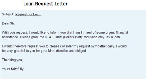 Loan Letter Loan Request Letter Writing Professional Letters