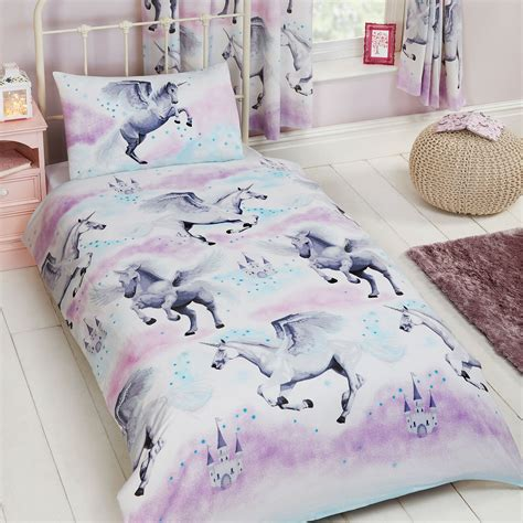 duvet cover and pillowcase set rapport stardust unicorn single duvet cover and pillowcase