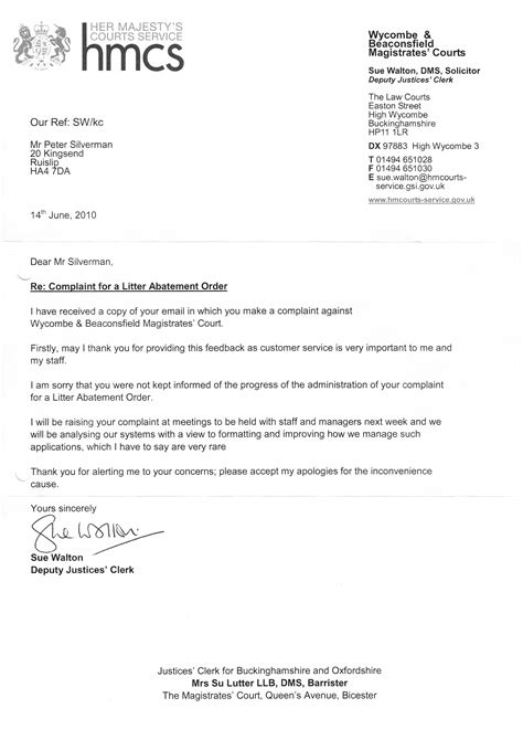 Court Letter M40 Court Letter 14th June 2010 Clean Highways