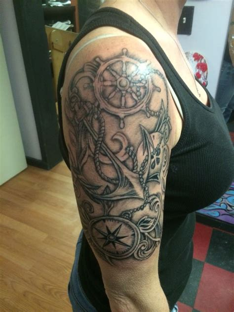 sailor tattoo designs black and grey compass nautical half