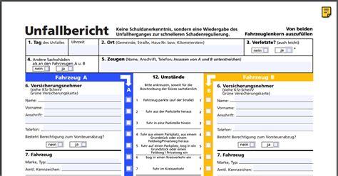 Auto Unfallbericht by Europ 228 Ischer Unfallbericht Kostenlos