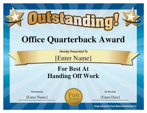 funny awards for work templates office quarterback award office pinterest